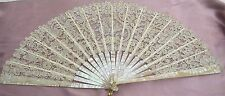 SUPERB ANTIQUE FAN WITH HAND MADE BRUSSELS LACE AND POINT DE GAZ SS521