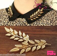 Gold Tone Shirt Pin Collar Brooche Bronze Leaf  New UK