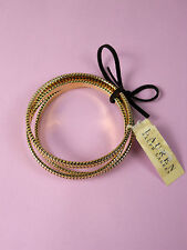 NWT Ralph Lauren Set of 3 Bangle Bracelets Goldtone Ridged Tribal NEW 48