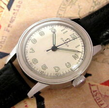 Mens 1943 Omega WWII Era Military R17.8 SC Stainless Steel Vintage Swiss Watch