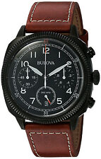 Bulova 98B245 Classic Black Dial Leather Strap Chronograph Automatic Men's Watch