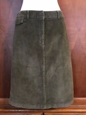 14 L Large L.L. Bean Classic Fit Straight Pencil Skirt New Corduroy Green Cord
