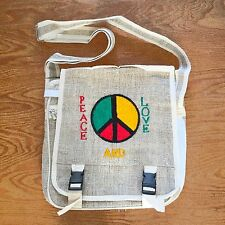 Peace Love Irie Hemp Boho Rastafari Rasta Shoulder Bag Reggae Marley Hawaii IRIE