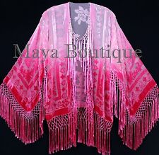 Wearable Art Strawberry Punch Velvet Kimono Jacket Hand Dyed Short Maya Matazaro