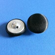 12 Large Satin Fabric Cover Tuxedo Wedding Gown Buttons Shiny Black 19mm G183S