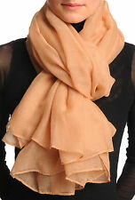 Plain Sandy Brown Unisex Scarf and Beach Sarong (SF001366)