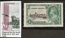 """CAYMAN 1935 KGV SILVER JUBILEE VARIETY ½d """"DIAGONAL  LINE BY TURRET"""" SG108i MINT"""