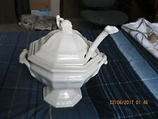 Large White Vintage Red Cliff Ironstone Grape Pattern Soup Tureen