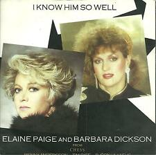 """7A2 140623 used vinyl 7"""" from CHESS ELAINE PAIGE & BARBARA DICKSON I KNOW HIM SO"""