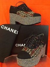 15K NIB CHANEL MULTICOLOR BLACK TWEED CC PLATFORM  OXFORDS WEDGE HEEL 38