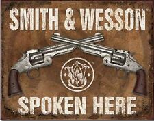 Western Cabin Lodge Barn Stable Decor ~SMITH & WESSON SPOKEN HERE~ Metal Sign