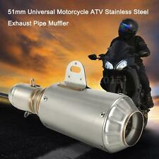 51mm Universal Motorcycle Stainless Steel Exhaust Pipe Muffler Dirt Bike O4M7