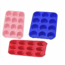 12 Cup Silicone Muffin Tray Cupcake Cake Cases moulds (Assorted Colours)