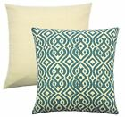"4 x MOROCCAN STYLE TEAL CREAM TAPESTRY CUSHION COVERS 18"" - 45CM"