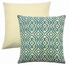 """4 x MOROCCAN STYLE TEAL CREAM TAPESTRY CUSHION COVERS 18"""" - 45CM"""