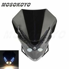 Dirt Bike Motorcycle Universal LED Vision Headlight Supermoto Head Lamp Black