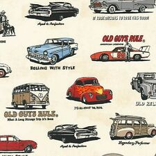1 x Half Metre Length Old Guys Rule Vintage Cars Print Fabric - 16698-15