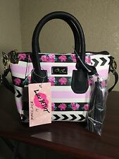 NWT! Luv Betsey by Betsey Johnson Roses Stripes Crossbody Mini Satchel LBGIYA