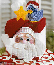 CHRISTMAS SANTA & BLUEBIRD TISSUE BOX COVER - PLASTIC CANVAS PATTERN