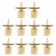 10Pc Connector SMA Male Plug 2-hole 16mm Flange Solder Panel Mount Straight