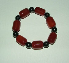 CHUNKY real stone BRACELET RED BROWN agate & magnetic haematine ELASTICATED