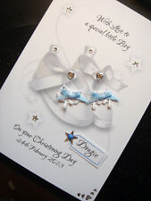 Handmade Personalised Christening/Baptism 'Shoes' Card. BLUE