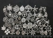 BARGAIN 50pcs Mix Bulk Tibetan Silver Charms Pendants Marine Tree Flower