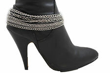 Women Silver Metal Chains Boot Bracelet Anklet Shoe Charm Jewelry Strands Waves