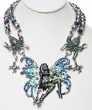 KIRKS FOLLY AVALON SPIDERELLA FAIRY QUEEN BEADED NECKLACE silver