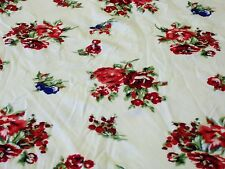 STRETCH JERSEY PRINT-SMALL ROSE BOUQUET-IVORY/RED/PINK/ROYAL/GREEN-DRESS FAB