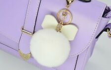 Leather Bow+Rex Rabbit Fur Ball PomPom Car Bag Key Chain Keyring Accessories