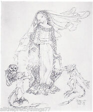 Sulamith Wulfing Fairy Tale PRINCESS Owl on GOBLIN Vintage 1932 MATTED Picture