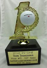 HOLE IN ONE GOLF TROPHY AWARD PLAQUE HOLDS GOLF BALL FREE ENGRAVING free ship