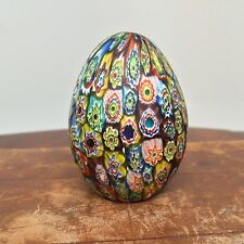 Vintage Murano Italy Millefiori Glass Egg Shaped Paperweight