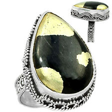 Pyrite in Magnetite (Healer's Gold) 925 Sterling Silver Ring Jewelry s.7 PIMR80
