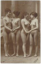 1920 French NUDE Photograph - Four Women, Full Frontal Lesbian Theme, Fetish