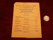 """RARE ANTIQUE 1923 PROGRAM """"CINCINNATI CONSERVATORY OF MUSIC"""" PIANOFORTE RECITAL"""