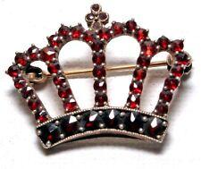 Antico Russo 8ct Oro Corona boema Granato Spilla Di Design