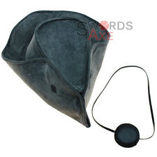 Naval Captains Tricorn Colonial Pirate Hat & Leather Eye Patch Marine
