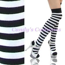 BLACK & WHITE Striped OVER-THE-KNEE Thigh High LADIES Long SOCKS Cosplay COSTUME