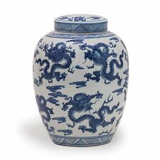 Beautiful Oriental Style Blue and White Porcelain Ginger Jar Dragon Motif 14""