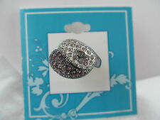NWT DESIGNER GUNMETAL GRAY AND SILVER CRYSTAL  STATEMENT RING size 7, BLING!!!