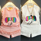 Cute Toddler Kids Baby Girls Summer Outfits Clothes Vest Tops+Shorts 2PCS Set
