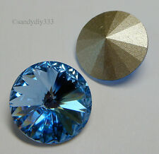 2x SWAROVSKI 1122 LIGHT SAPPHIRE 14mm RIVOLI CRYSTAL STONE (Foiled)