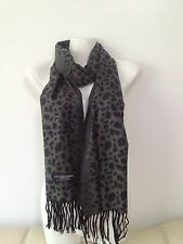 100% CASHMERE SCARF LEOPARD DESIGN GRAY COLOR MADE IN SCOTLAND SUPER SOFT