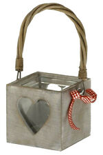 Grey Wash Heart Wooden Candle Holder 12.5CM With Glass Insert- Shabby Chic New