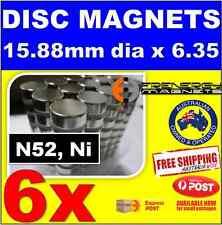 6X DISC Neodymium Rare Earth Magnets 15.88X6.35mm N52