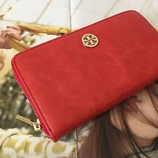 Tory Burch Red Leather Dena Zip Around Continental Clutch Wallet 90009172 NWT
