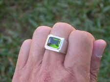 11 X 9 mm August Green Peridot Birthstone Men's Solitaire Rhodium Ring Size 9