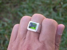11 X 9 mm August Green Peridot Birthstone Men's Solitaire Rhodium Ring Size 10
